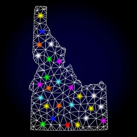 Glossy polygonal mesh map of Idaho State with glow effect. Vector carcass map of Idaho State with glowing multi colored points for Christmas templates. White mesh lines. Dark blue background.  イラスト・ベクター素材