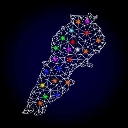 Glossy polygonal mesh map of Lebanon with glare effect. Vector carcass map of Lebanon with glowing multi colored spheres for New Year posters. White mesh lines. Dark blue background.