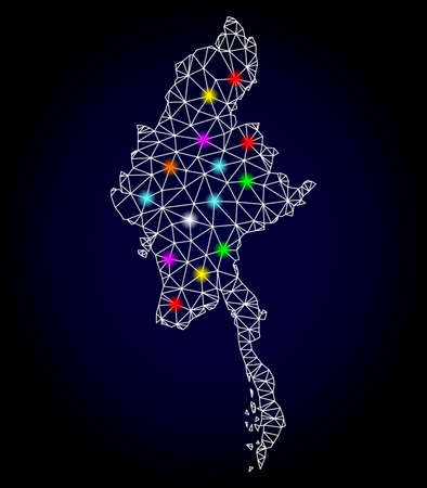 Glossy polygonal mesh map of Myanmar with glow effect. Vector carcass map of Myanmar with glowing multi colored spheres for Christmas templates. White mesh lines. Dark blue background.