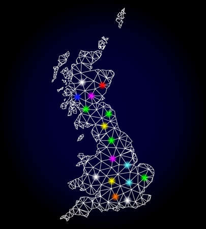 Glossy polygonal mesh map of Great Britain with glare effect. Raster carcass map of Great Britain with glowing multi colored points for Christmas purposes. Abstract white mesh lines, triangles,