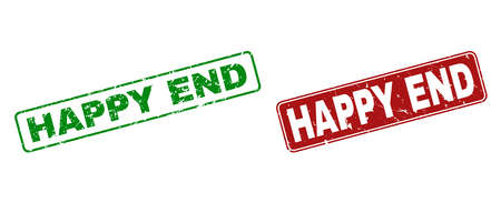 Grunge Happy End stamp seals. Vector Happy End rubber seal imitation in red and green colors. Text is placed inside rounded rectangle frames with grunge effect. Illustration