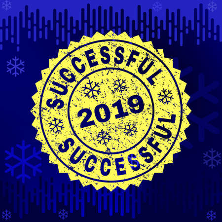 Grunge round Successful rosette stamp seal for 2019 winter. Vector Successful rubber print imitation for New Year and Christmas purposes. Ilustrace