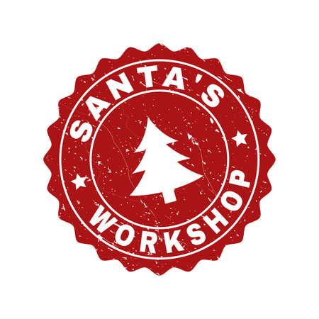 Grunge rundes Stempelsiegel Santa's Workshop mit Tannenbaum. Vector Santa's Workshop Gummidichtung Nachahmung für Neujahr und Weihnachten. Rot gefärbte Rosette mit Grunge-Textur.