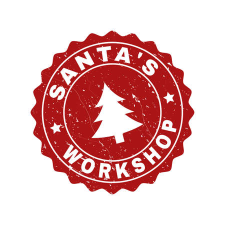 Sceau de timbre rond Grunge Santa's Workshop avec sapin. Vector Santa's Workshop imitation de joint en caoutchouc pour le Nouvel An et Noël. Rosette de couleur rouge avec texture grunge.