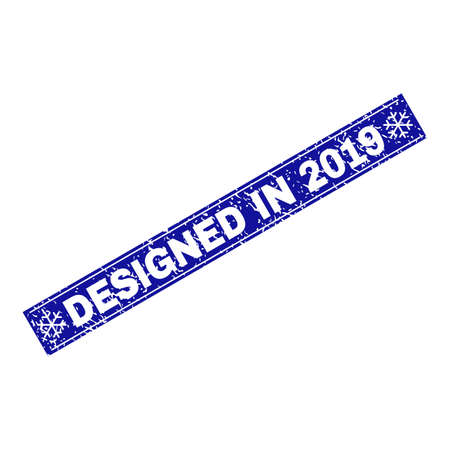 Grunge rectangle Designed in 2019 stamp seal with snowflakes and lines. Vector Designed in 2019 grunge stamp in winter style. Blue colored rectangle with grunge style.