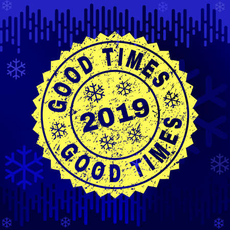 Grunge round Good rosette stamp seal for 2019 winter. Vector Good rubber imprint imitation for New Year and Christmas purposes. Blue gradient background with snowflakes and transition effect. Ilustrace