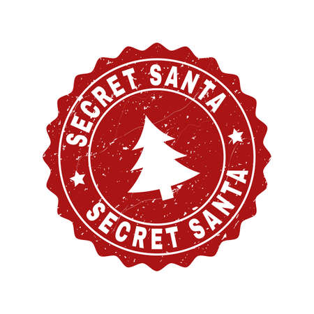 Grunge round Secret Santa stamp seal with fir-tree. Vector Secret Santa rubber seal imitation for New Year and Christmas purposes. Red colored rosette with distress effect.
