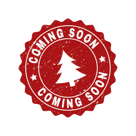 Grunge round Coming Soon stamp seal with fir-tree. Vector Coming Soon rubber seal imitation for New Year and Christmas purposes. Red colored rosette with grunge surface.