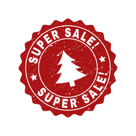 Grunge round Super Sale! stamp seal with fir-tree. Vector Super Sale! rubber seal imitation for New Year and Christmas purposes. Red colored rosette with grunge texture.