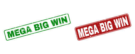 Grunge Mega Big Win stamp seals. Vector Mega Big Win rubber seal imitation in red and green colors. Text is placed inside rounded rectangle frames with draft effect.