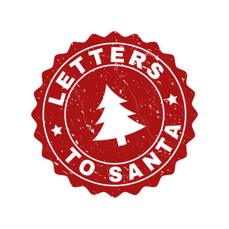 Grunge round Letters to Santa stamp seal with fir-tree. Vector Letters to Santa rubber seal imitation for New Year and Christmas purposes. Red colored rosette with grunge effect. Ilustrace