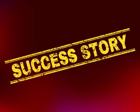 Grunge Success Story stamp seal on complex gradient background. Vector Success Story rubber seal imitation. Light yellow colored text between double parallel lines with grunge texture.
