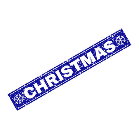 Grunge rectangle Christmas watermark with snowflakes and lines. Vector Christmas grunge stamp in winter style. Blue colored rectangle with grainy style. Illustration