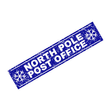 Grunge rectangle North Pole Post Office watermark with snowflakes and lines. Vector North Pole Post Office grunge stamp in winter style. Blue colored rectangle with dirty style.
