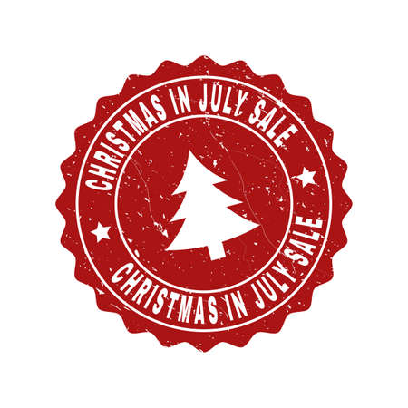 Grunge round Christmas in July Sale stamp seal with fir-tree. Vector Christmas in July Sale rubber seal imitation for New Year and Christmas purposes. Red colored rosette with grunge texture. Çizim