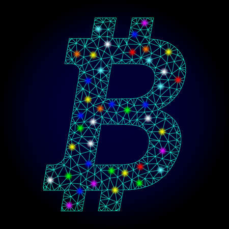 Glossy polygonal mesh bitcoin icon with glow effect on a dark background. Carcass bitcoin iconic vector with glitter multi colored points for Christmas templates. Abstract light blue mesh lines,