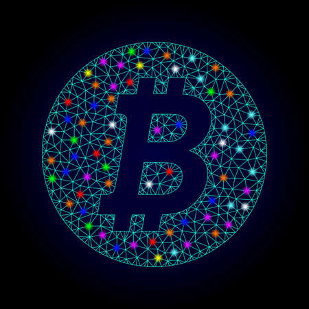 Glossy polygonal mesh bitcoin coin icon with glow effect on a dark background. Carcass bitcoin coin iconic vector with glamour multi colored spheres for Christmas templates.