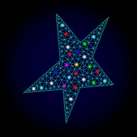 Glossy polygonal mesh asymmetrical star icon with glare effect on a dark background. Carcass asymmetrical star iconic vector with flash multi colored dots for New Year illustrations.