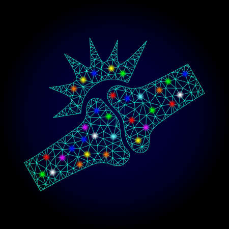 Glossy polygonal mesh bone joint fracture icon with glare effect on a dark background. Carcass bone joint fracture iconic vector with flash multicolored dots for New Year purposes.