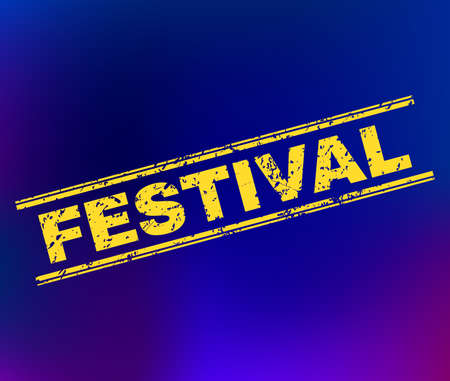 Grunge Festival stamp on complex gradient background. Vector Festival rubber seal imitation. Light yellow colored caption between double parallel lines with grunge texture.
