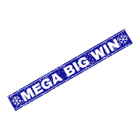 Grunge rectangle Mega Big Win stamp seal with snowflakes and lines. Vector Mega Big Win grunge stamp in winter style. Blue colored rectangle with grunge style.