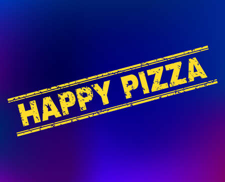 Grunge Happy Pizza stamp seal on complex gradient background. Vector Happy Pizza rubber seal imitation. Light yellow colored text between double parallel lines with grunge style.
