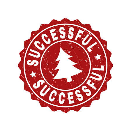 Grunge round Successful stamp seal with fir-tree. Vector Successful rubber seal imitation for New Year and Christmas purposes. Red colored rosette with grunge texture. Reklamní fotografie - 113220372
