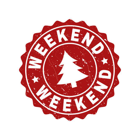 Grunge round Weekend stamp seal with fir-tree. Vector Weekend rubber seal imitation for New Year and Christmas purposes. Red colored rosette with grunge surface.