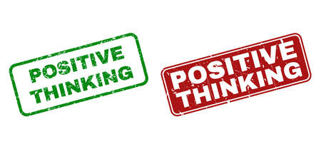 Grunge Positive Thinking stamp seals. Vector Positive Thinking rubber seal imitation in red and green colors. Text is placed inside rounded rectangle frames with grunge style. Illustration