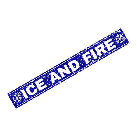 Grunge rectangle Ice and Fire stamp seal with snowflakes and lines. Vector Ice and Fire rubber seal imitation in winter style. Blue colored rectangle with grunge style.