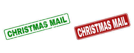 Grunge Christmas Mail stamp seals. Vector Christmas Mail rubber seal imitation in red and green colors. Text is placed inside rounded rectangle frames with grunge surface.