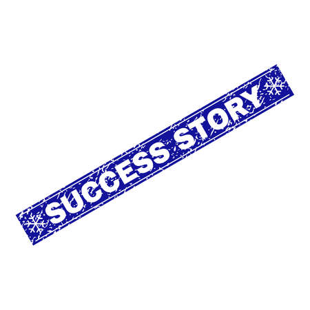 Grunge rectangle Success Story stamp seal with snowflakes and lines. Vector Success Story grunge stamp in winter style. Blue colored rectangle with dirty surface.