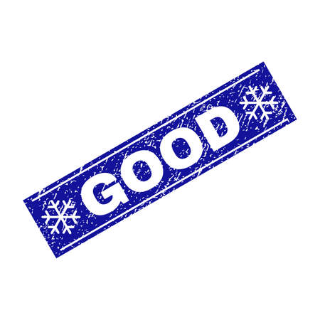 Grunge rectangle Good stamp seal with snowflakes and lines. Vector Good grunge stamp in winter style. Blue colored rectangle with scratced style.