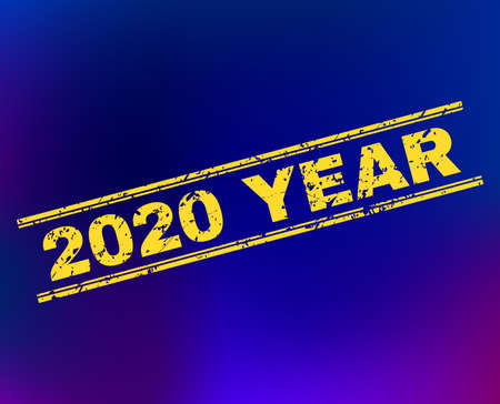 Grunge 2020 Year stamp seal on complex gradient background. Vector 2020 Year rubber seal imitation. Light yellow colored caption between double parallel lines with grainy effect.