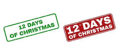 Grunge 12 Days of Christmas stamp seals. Vector 12 Days of Christmas rubber seal imitation in red and green colors. Text is placed inside rounded rectangle frames with grunge effect. Illustration