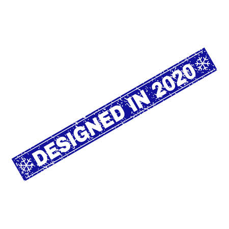 Grunge rectangle Designed in 2020 stamp seal with snowflakes and lines. Vector Designed in 2020 grunge stamp in winter style. Blue colored rectangle with draft style.