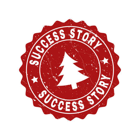 Grunge round Success Story stamp seal with fir-tree. Vector Success Story rubber seal imitation for New Year and Christmas purposes. Red colored rosette with grunge effect.