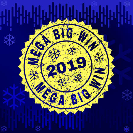 Grunge round Mega Big Win rosette stamp seal for 2019 winter. Vector Mega Big Win rubber seal imitation for New Year and Christmas purposes.