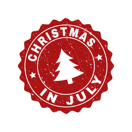 Grunge round Christmas in July stamp seal with fir-tree. Vector Christmas in July rubber seal imitation for New Year and Christmas purposes. Red colored rosette with grunge texture.