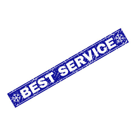 Grunge rectangle Best Service stamp seal with snowflakes and lines. Vector Best Service grunge stamp in winter style. Blue colored rectangle with distress style.