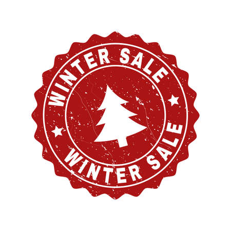Grunge round Winter Sale stamp seal with fir-tree. Vector Winter Sale rubber seal imitation for New Year and Christmas purposes. Red colored rosette with grunge texture.