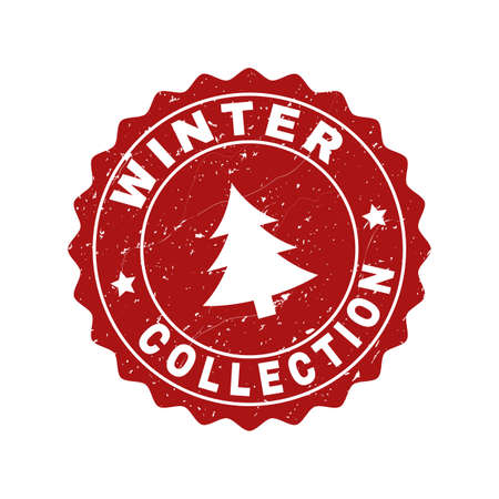 Grunge round Winter Collection stamp seal with fir-tree. Vector Winter Collection rubber seal imitation for New Year and Christmas purposes. Red colored rosette with grunge surface. 矢量图像