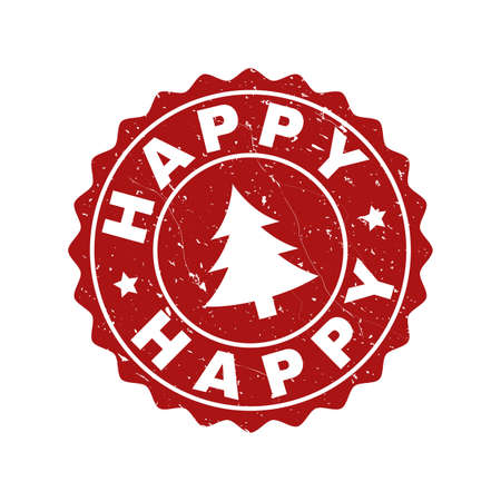 Grunge round Happy stamp seal with fir-tree. Vector Happy rubber seal imitation for New Year and Christmas purposes. Red colored rosette with grunge effect.