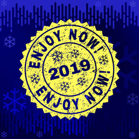 Grunge round Enjoy Now! rosette stamp seal for 2019 winter. Vector Enjoy Now! rubber seal imitation for New Year and Christmas purposes. Blue gradient background with snowflakes and transition effect.