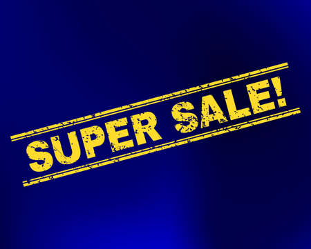 Grunge Super Sale! stamp seal on complex gradient background. Vector Super Sale! rubber seal imitation. Light yellow colored caption between double parallel lines with draft texture.