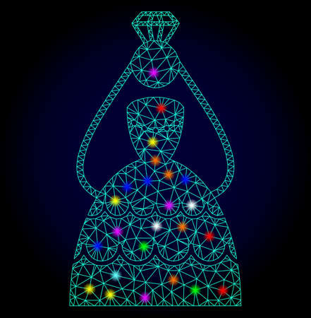 Glossy polygonal mesh crowned bride icon with glow effect on a dark background. Carcass crowned bride iconic vector with glamour multicolored points for New Year illustrations.