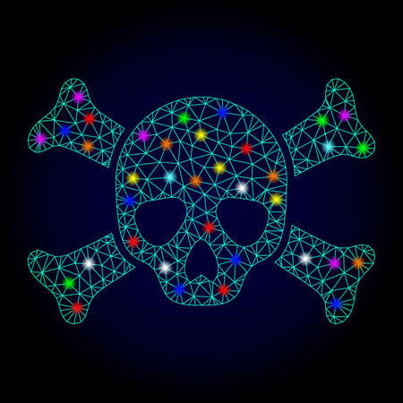Glossy polygonal mesh death skull icon with glare effect on a dark background. Carcass death skull iconic vector with glamour multi colored spheres for New Year purposes.