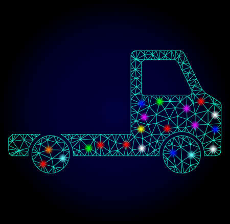 Glossy polygonal mesh delivery car chassi icon with glare effect on a dark background. Carcass delivery car chassi iconic vector with glamour colorful spheres for Christmas illustrations. Illustration
