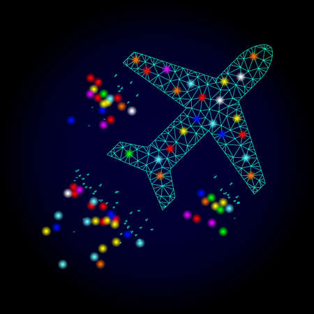 Glossy polygonal mesh flying air liner icon with glare effect on a dark background. Carcass flying air liner iconic vector with glitter colorful points for Christmas purposes.
