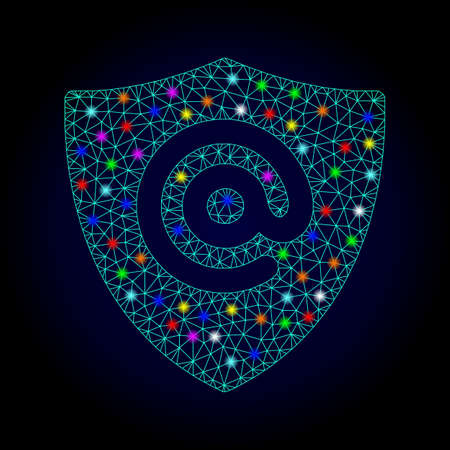Glossy polygonal mesh email address shield icon with glow effect on a dark background. Carcass email address shield iconic vector with illuminated multi colored dots for New Year illustrations.